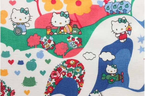 Liberty tana lawn - Mim  Hello kitty printed in Japan -  Green mix