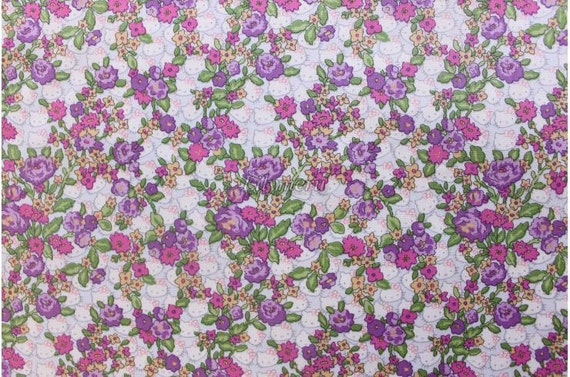 Liberty tana lawn - Hello Kitty printed in Japan - Forget me not  - Purple mix