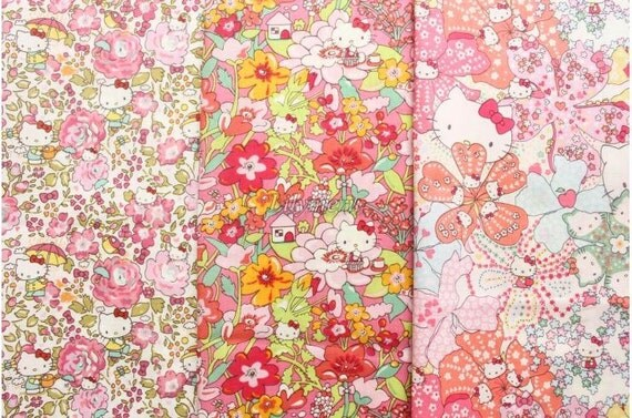 3 pcs of Liberty fabrics  - Hello kitty  printed in  Japan -2012-1