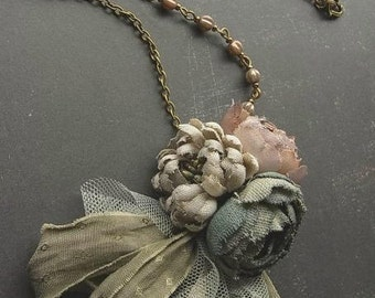 petite bouquet necklace - ash rose - hand dyed - antiqued rose necklace, fabric flower necklace, tattered necklace