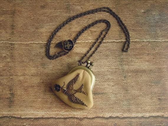 кожаный кошелек ожерелье - торы - естественный