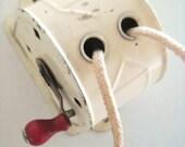 Sale - Vintage cream metal clothesline retractable marked 49