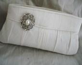 Bridal Clutch Purse - Ivory Silk Dupioni Clutch Swarvoski Crystal Brooch