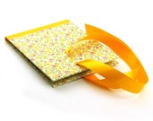 handmade CD Case - Rain of yellow pink flowers - ribbon from satin