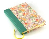 A6 Notebook, floral pink green diary journal,