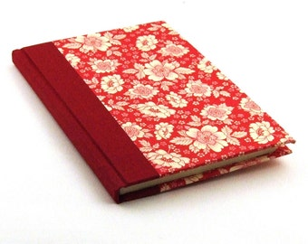 Address Book with tabs in red English flower, red phone book,