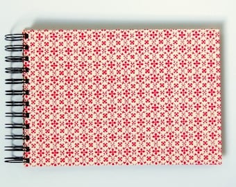 A5 photo album, red spiral bound album, red white graphic patterned photo book