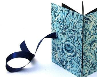 Accordion Photo Album, Indian Flowers indigo blue Wedding Brag Book