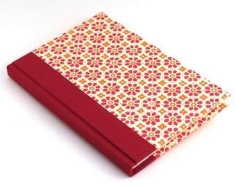 Nauli Address Book red orange flower stamps