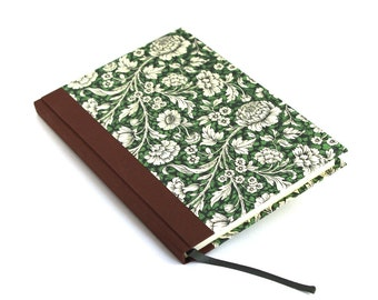 A5 Notebook Diary green brown Renaissance Flowers, gift for gardeners