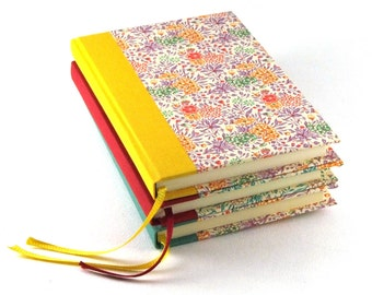 DIN A6 Notebook, Summerflower sunny yellow pink floral design, Blank Book, Small Hardcover, Small Diary Notebook, Hardcover Notebook, Jotter