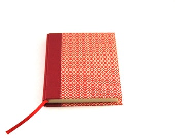 small red journal with graphic pattern Quatrefoil DIN A6 hardcover notebook