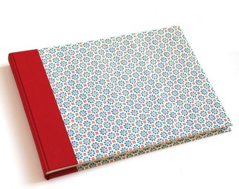 Heirloom Family Album, extra large Wedding Photo Album Flower- Stamps teal red