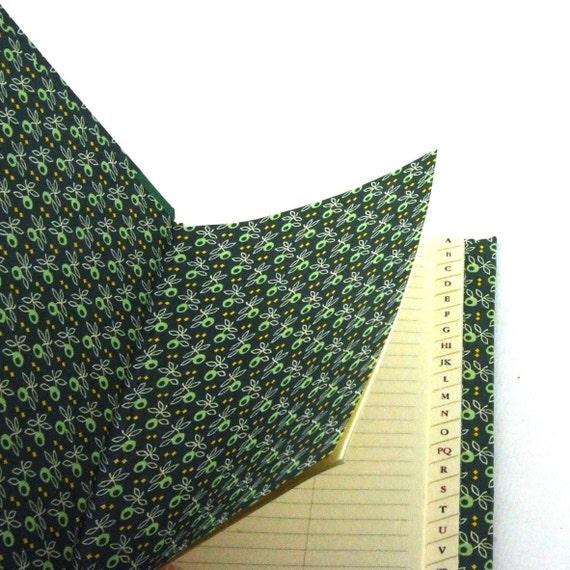Nauli handmade Address Book green olive leafs