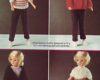 Knitting pattern for Sindy or Tammy fashion doll. Doll knitting patterns