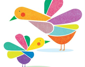 Birds and Colors Print - Different Sizes