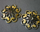 Yellow Torch Fired  Enamel Filigree Connectors