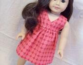 American Girl Doll Clothes --Salina Dress,  Pink Polka Dot