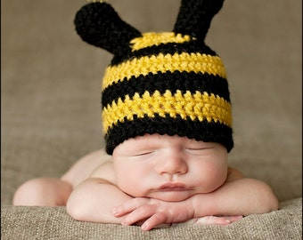 Baby boys hat, baby girls hat, bee hat, newborn bee hat, photo props, baby shower gift, crochet bee hat, crochet baby hats