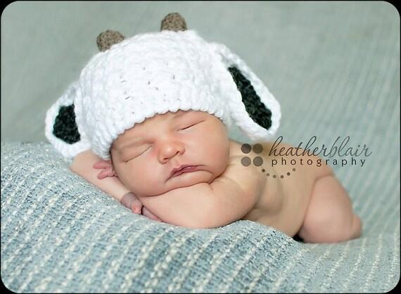 Baby Goat hat, Billie Goat, Crochet baby hat, photo props, baby shower gift, farm baby hat, crochet baby hat, newborn baby goat,