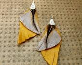 Leather wing Earrings, Mustard leather Earrings, Leather feather Earrings, Wing Earrings, Drop leather wing Earrings- ooak