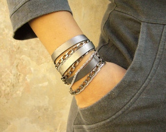 Silver Leather Bracelet, Triple Wrap Bracelet, Leather and Silver Bracelet, Leather and Metal Bracelet, Bohemian Bracelet, Everyday Bracelet