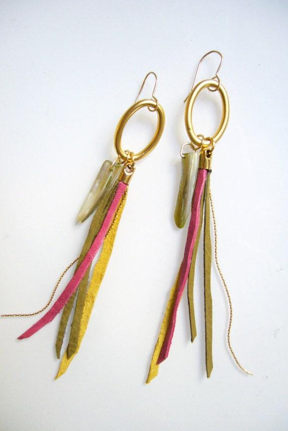 Tribal Earrings, Leather Tassel Earrings, Neon Leather Fringe Jewelry, Boho Long Earrings, Long Dangle Earrings, Bird of Paradise Earrings
