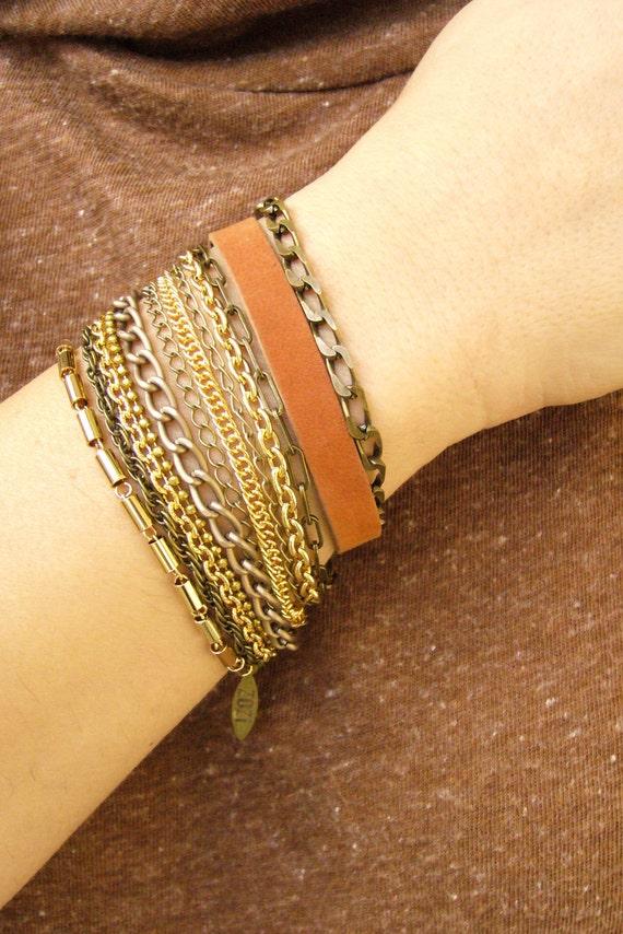 Multi Strand Bracelet, Layered Bracelet, Stackable bracelets, Wide Cuff Bracelet, Leather and Metal Bracelet, Boho Leather Bracelet..
