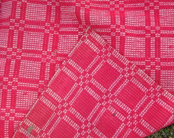 woven coverlet, raspberry red, antique textile home and living bedspread primitive home decor