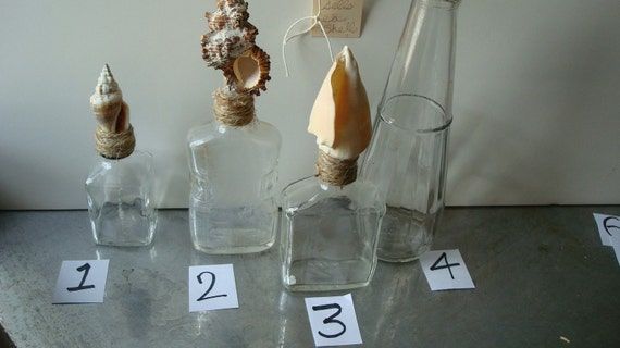 vintage bottles  with sea shell toppers, instant collection all 12