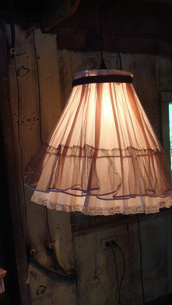 Eco Friendly Hanging Lamp, latest Frilly, Flouncy, Flirty hanging lamp, PINK, seen on Craftzine