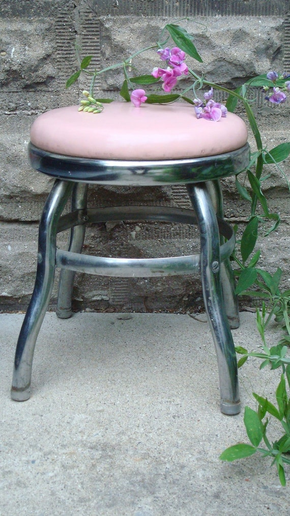 vintage,industrial  Stool , Cosco   PINK