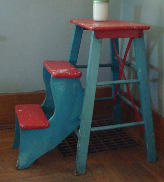 Wood Folding Step Stool Aqua And Red Vintage Kitchen Charm