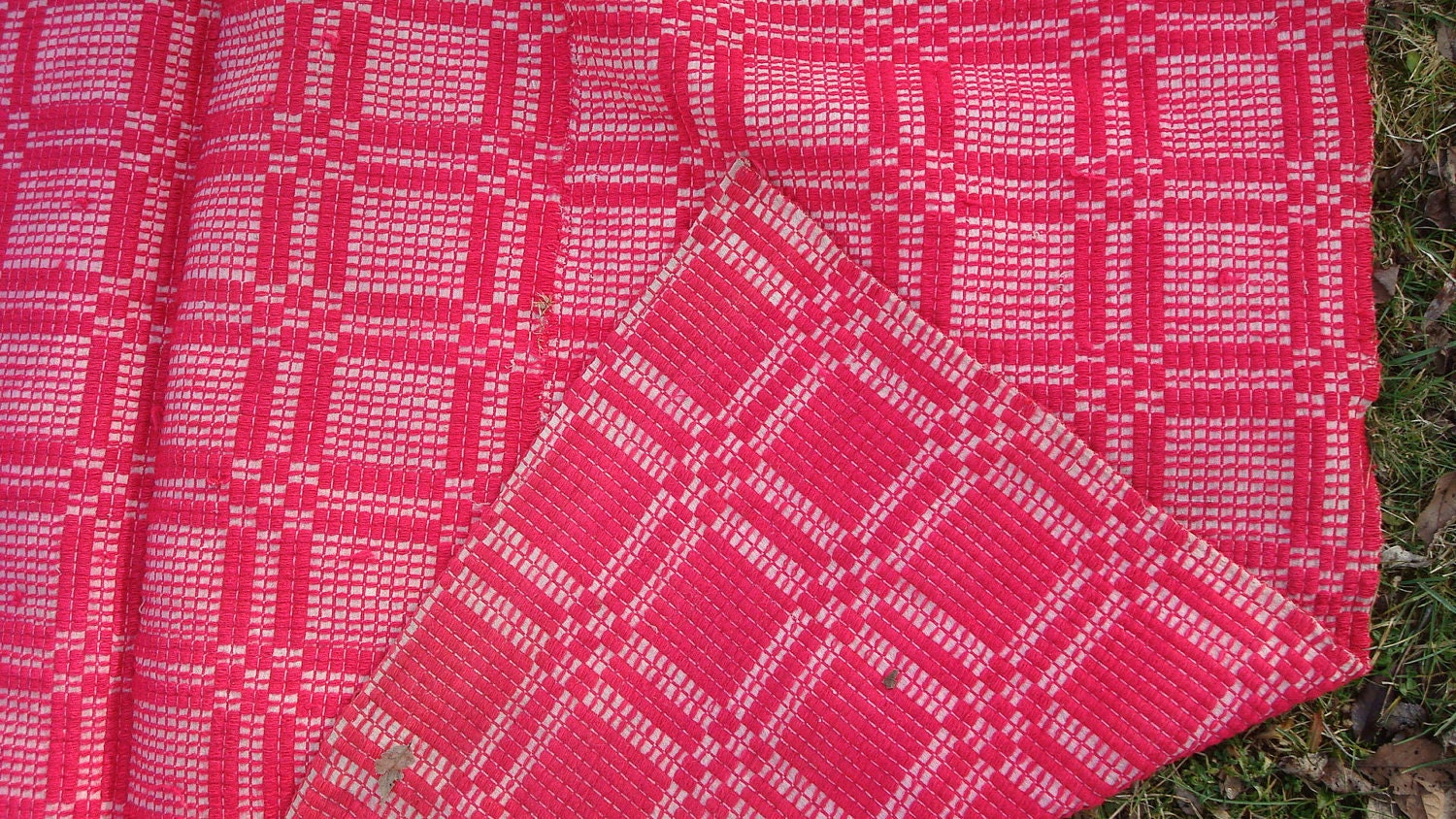 Woven Coverlet Raspberry Red Antique Textile By