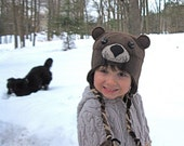Adorable Brown River Otter Hat for children with fleece braids