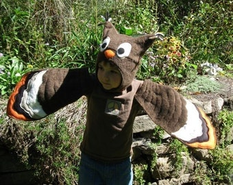 Brown Hoot Owl Wings And Hat Set for Children