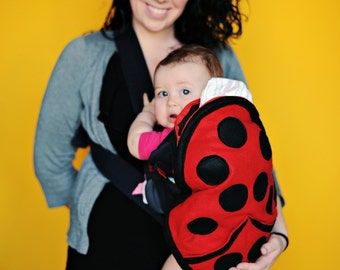 Ladybug Baby Carrier Cover -  quite possibly the best baby shower gift ever. For Ergo Tula or Bjorn soft structured type carriers