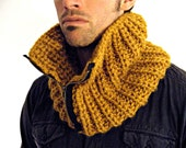 Chunky knit cowl with zipper. The Marshall Cowl in Butterscotch