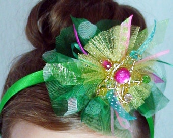 Christmas Star - Holiday Headband - Girls Hair Accessory, Adult christmas headband in Green Gold Pink Blue and Yellow
