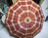 Vintage Plaid Umbrella Brown and White