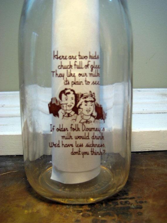 Vintage Quart Milk Bottle Downey Dairy