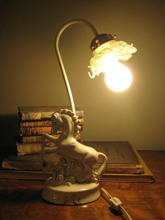 Vintage Unicorn Lamp White Porcelain