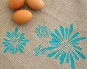 Tea Towel. Kitchen Towel. Turquoise Flowers. Natural Linen. Original Illustration Screen Print.