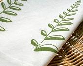 Pine Fern. Cream Linen Tea Towel.