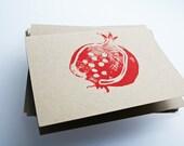 Pomegranate. Linocut block print. - PonyAndPoppy