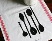 SALE. Stir. Spoons Tea Towel. Screen Print.