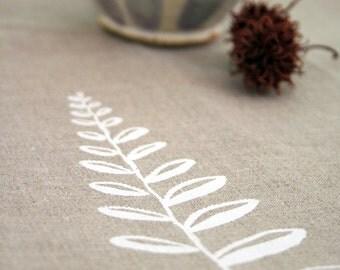 SALE! Tea Towel. Linen Towel. Natural Flax. Fern. Original Illustration Screen Print.