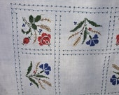 Vintage Tablecloth Embroidery  Roses Berries and Wheat