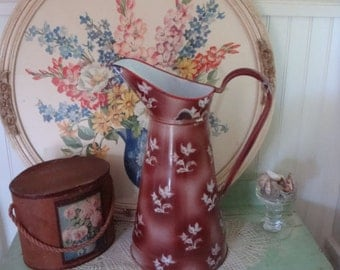 Vintage French Body Pitcher Enamelware in Gorgeous Earthy Color