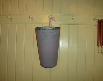 Vintage Maple Sugarin Sap Bucket Lavender Paint Delightful Filled w Spring Stems
